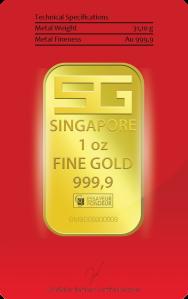 1 oz. 9999 gold reverse of bar assay