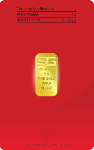 5g 9999 Gold back of bar proof of assay.