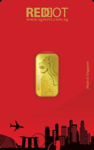 5g 9999 gold Merlion bar.