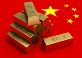 Gold bars on top of chinese flag